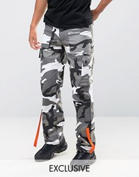 Reclaimed Vintage Camo Cargo Trousers With Strapping Black