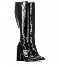 Marc Jacobs Patent Leather Knee High Boots Black