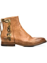 Sartori Gold Embroidered Ankle Boots Brown