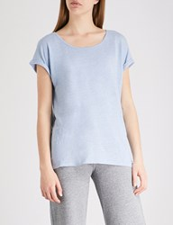 The White Company Rolled Cuff Linen Jersey T Shirt Pale Blue