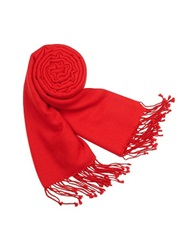 Forzieri Solid Pure Pashmina Fringed Shawl Red