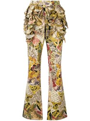 Moschino Vintage Ruffled Patchwork Print Flared Trousers Multicolour