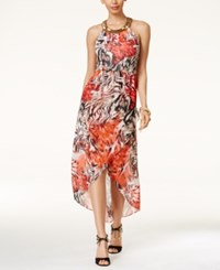 Thalia Sodi Printed High Low Maxi Dress Only At Macy's Animal Print