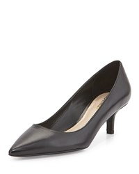 Delman Belle Leather Low Heel Pump Black