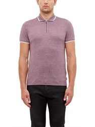 Ted Baker Wennow Zip Detail Mouline Polo Shirt Deep Purple