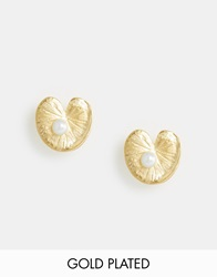 Bill Skinner Lilypad And Fresh Water Pearl Stud Earrings Gold