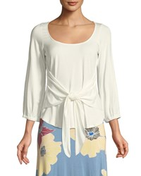 Rachel Pally Catalina Tie Front Jersey Top Plus Size White