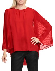 Vince Camuto Petite Chiffon Pleated Sleeve Blouse Red
