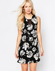 Daisy Street Shift Dress With Mesh Insert In Flower Print Black Floral