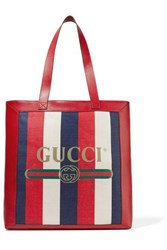 Gucci Leather Trimmed Striped Canvas Tote Red