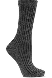 Isabel Marant Lily Ribbed Metallic Knitted Socks Silver