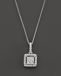 Bloomingdale's Diamond Princess Cut Halo Pendant Necklace In 14K White Gold .40 Ct. T.W.