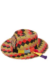 Etro Checked Straw Hat W Beaded Hatband Multicolor