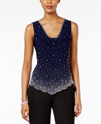 Msk Sleeveless Embellished Blouse Navy