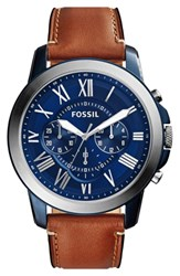 Fossil 'Grant' Round Chronograph Leather Strap Watch 44Mm
