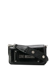 Love Moschino Logo Plaque Crossbody Bag Black