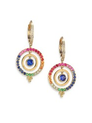 Temple St. Clair Celestial Multicolor Sapphire Diamond And 18K Yellow Gold Piccolo Tolomeo Drop Earrings Gold Multi