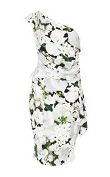 Elizabeth Kennedy One Shoulder Floral Peplum Dress Multi