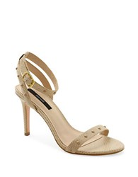 Kensie Lexy Embossed Leather Sandals Natural