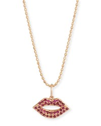 Sydney Evan 14K Gold Ruby Lips Pendant Necklace Small Yellow Gold