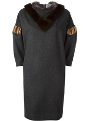 Kolor Faux Fur Collar Dress Grey