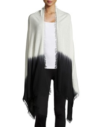 Neiman Marcus Cashmere Collection Ombre Tie Dye Cashmere Shawl W Fringe Black Ivory