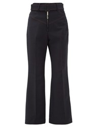 Ellery Supervision Contrast Stitch Kick Flare Trousers Navy