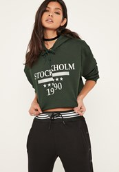 Missguided Green Stockholm Slogan Cropped Hoodie