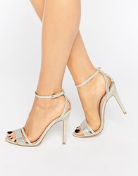 Faith Silver Barely There Heeled Sandals Silver