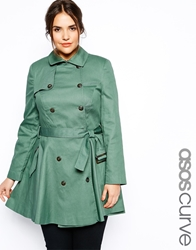 Asos Curve Exclusive Fit And Flare Mac Olive
