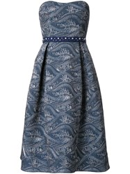 Mary Katrantzou Flared Strapless Dress Blue