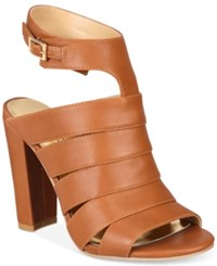 Thalia Sodi Wide Width Ebbony Strappy Dress Sandals Only At Macy's Women's Shoes Cognac