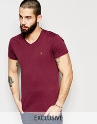 Farah T Shirt With V Neck And F Logo Slim Fit Exclusive Red
