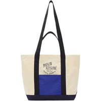 Maison Kitsune Off White And Blue Small Colorblock Shopping Bag