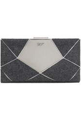 Roger Vivier Woman Prismick Patchwork Felt And Mirrored Leather Clutch Anthracite