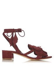 Olgana Paris Dahlia Floral Detail Suede Block Heel Sandals Burgundy