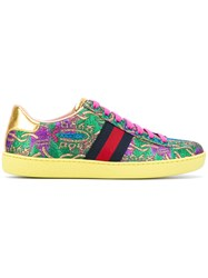 Gucci Floral Embroidered Sneakers Women Leather Foam Rubber 37