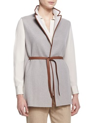 Loro Piana Brett Belted Leather Trimmed Vest