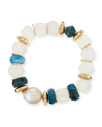 Akola Apatite Beaded Stretch Bracelet Green