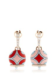 Chantecler Maiolica Rose Gold And Coral Earrings