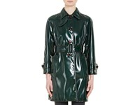 Prada Women's Faux Patent Leather Trench Coat Dark Green