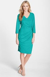 Women's Nydj 'Rosella' Stretch Crepe Sheath Dress Turquoise