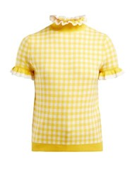 Shrimps Gingham Ruffle Short Sleeved Sweater Yellow