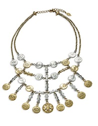 T And C Theodora And Callum Double Row Coin Bib Necklace Gold
