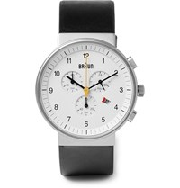 Braun Bn0035 Classic Chronograph Stainless Steel And Leather Watch Black