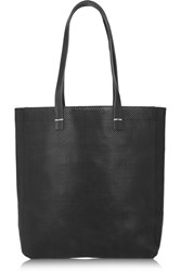 Clare V. Margot Perforated Leather Tote Black