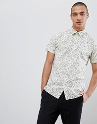 Selected Homme Short Sleeve Shirt With All Over Print Seedpearl Ensign White