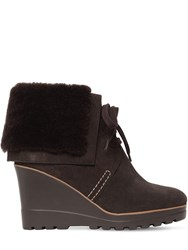 See By Chloe 90Mm Rachel Suede And Fur Ankle Boots Brown
