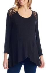 Everly Grey Women's Aaliyah Wrap Front Maternity Nursing Top Black