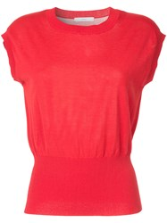 Astraet Short Sleeved Knit Top Red